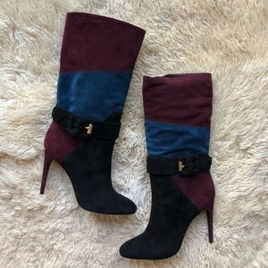 Burberry Pimlico Suede Buckle Patchwork Tall Boots